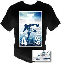 MJordan 4's Michael Jordan T-Shirt 89 RETRO blue and white Custom Printed Art - $18.99+