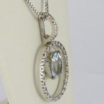 Necklace White Gold 750 - 18K, Pendant Aquamarine Frame & Oval Diamonds image 2