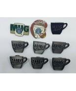 "9 STARBUCKS Coffee Old Logo ""M.U.G."" MUG Apron Hat Lapel AWARD PINS - $19.87"
