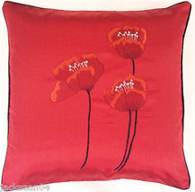 """2 GRACEFUL POPPY RED BLACK FAUX SILK FLORAL POPPY 18"""" EMBROIDERED CUSHIO... - $10.62"""
