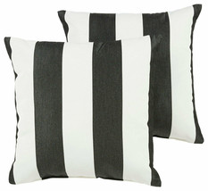 Outdoor Pillow Set of 2 Square Pillows Striped Black White 18x18 Durable... - $73.76