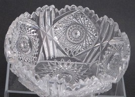 "American Brilliant Period hand Cut Glass bowl 7.75"" - $125.88"