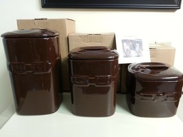 Longaberger Canister Set of 3 Chocolate Brown Pottery New - $108.85
