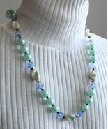 Elegant Aqua Faux Pearl & Blue Iridescent Cut Glass Necklace 1960s vintage - $12.82