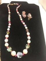 Vintage Laguna Crystal Faux Pearl Necklace Pink Blue Clip Earrings - $33.78