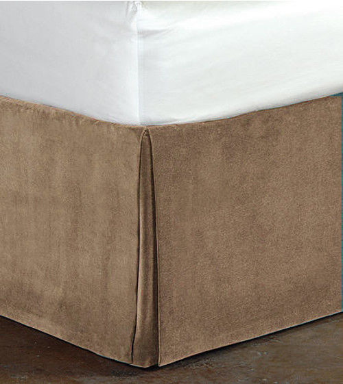 "Primary image for New Queen Size 15""Drop 100% Cotton Velvet Bedskirt/Valance Box Pleated - Mocha"