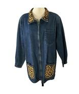 Vtg Totally 80s Denim Jacket Leopard Collar Pockets Glam Rock Oversized M/L - $41.58