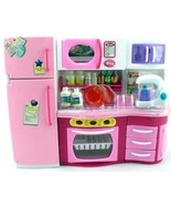 GIRL FUN TOYS Pink Kitchen with Blender, Over, Fridge, Micro Wave Barbie... - $24.99