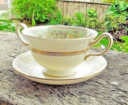 Wedgwood Gold Colombia Sage Green Cream Soup Bouillon Cup w/ Saucer Bone... - $38.00