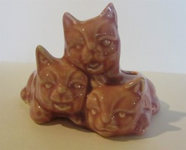 Cat Planter Vintage Ceramic or Porcelain Small Pink or Mauve 3 Kittens - $11.88