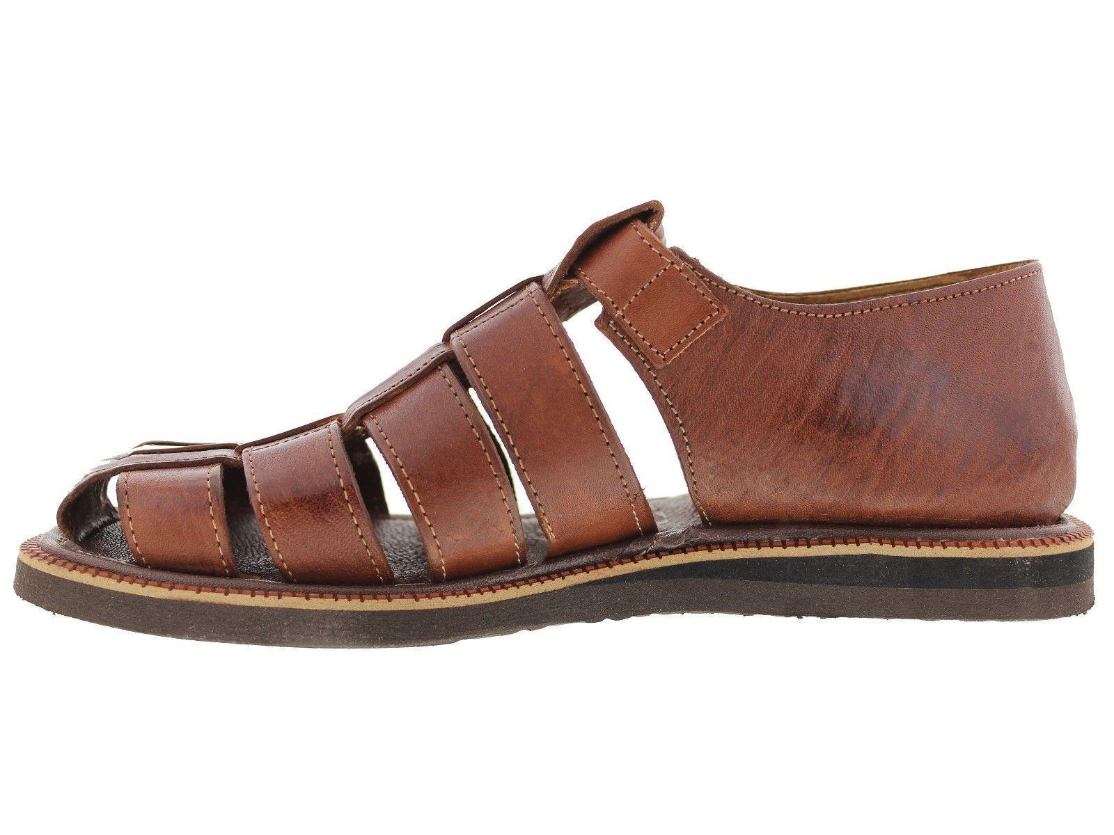Mens Brown Genuine Leather Handmade Sandals Mexican Original Slip On Slides