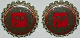 Soda pop bottle caps 7UP Lot of 2 plastic lined unused and new old stock - $5.39