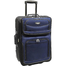 """Rolling Suitcase Expandable 25"""" Wheeled Upright Luggage Navy Blue Lightw... - $56.46"""