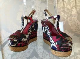 JIMMY CHOO Red/Multi Color T Strap Sandal Wedges Sz 37.5 $550 - $181.29