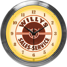New Willys Sales Service neon clock Jeep Dodge Ford Chevy available Fast... - $89.95
