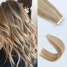 """Lovrio 18"""" 20 Pcs 50g Tape in Human Hair Piano Color Blonde Mixed with Warm Gold"""