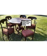 "48"" pedestal table;2 upholstered arm chairs + 3 side chairs;inlaid wood - $499.99"