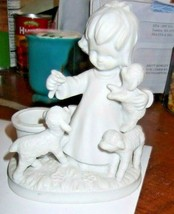 Vintage GHC Porcelain Bisque Girl w/Lambs Toothpick Holder - $14.89