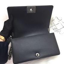 100% AUTHENTIC NEW CHANEL 2018 BLACK CAVIAR LEATHER MEDIUM BOY FLAP BAG RHW image 7