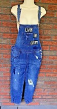 Overalls Size 27 Medium Wash Patch Denim Jeans Distressed Skinny Leg For... - $19.60