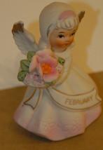 Lefton? February Angel Bisque Porcelain C.1975 Japan Hand Painted Flower Basket - $14.99