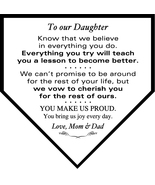 Custom Mini Home Plate Plaque To Our Daughter Birthday, Wedding, Christm... - $34.95