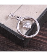 Silver open Circle Heart Pendant for Women in Vintage Style - $28.00