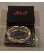 "Avon ""FOREVER"" Paula Abdul bold glamour gold tone & rhinestone cuff brac... - $8.90"