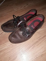 Bass Harry ll Brown Leather Boat Shoes Mens Size 11.5 wide - $23.76