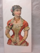 Victorian embossed die cut. Lady in fancy dress with dance card - $8.99