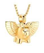 mingkejw Pet Urn Necklace for Animal Ashes - Flying Pig Charm Cremation ... - $17.36
