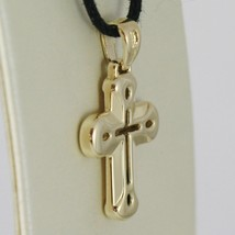 18K YELLOW GOLD CROSS VERY SHINY AND LUSTER,  PERFORATED MADE IN ITALY 0.91 IN image 2