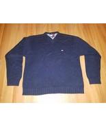 Vintage Tommy Hilfiger 100% Cotton Sweater Large (L) Blue Crew Neck - $29.69
