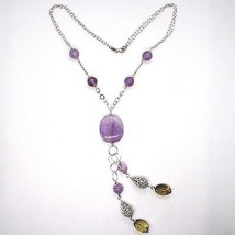 925 Silver Necklace, Amethyst Round and Rectangular, Smoky Quartz Oval, Pendant image 2