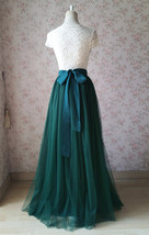 Dark Green Wedding Tulle Skirt with Bow Dark Green Bridesmaid Long Tulle Skirts image 1