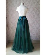 Dark Green Wedding Tulle Skirt with Bow Dark Green Bridesmaid Long Tulle... - $59.99
