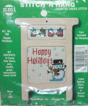 """NMI 106 Happy Holidays Wooden Counted Cross Stitch Kit 4"""" Tall - $11.85"""