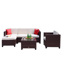 6 PC Rattan Wicker Furniture Sectional Set Outdoor Patio Garden Sofa Coc... - $479.99