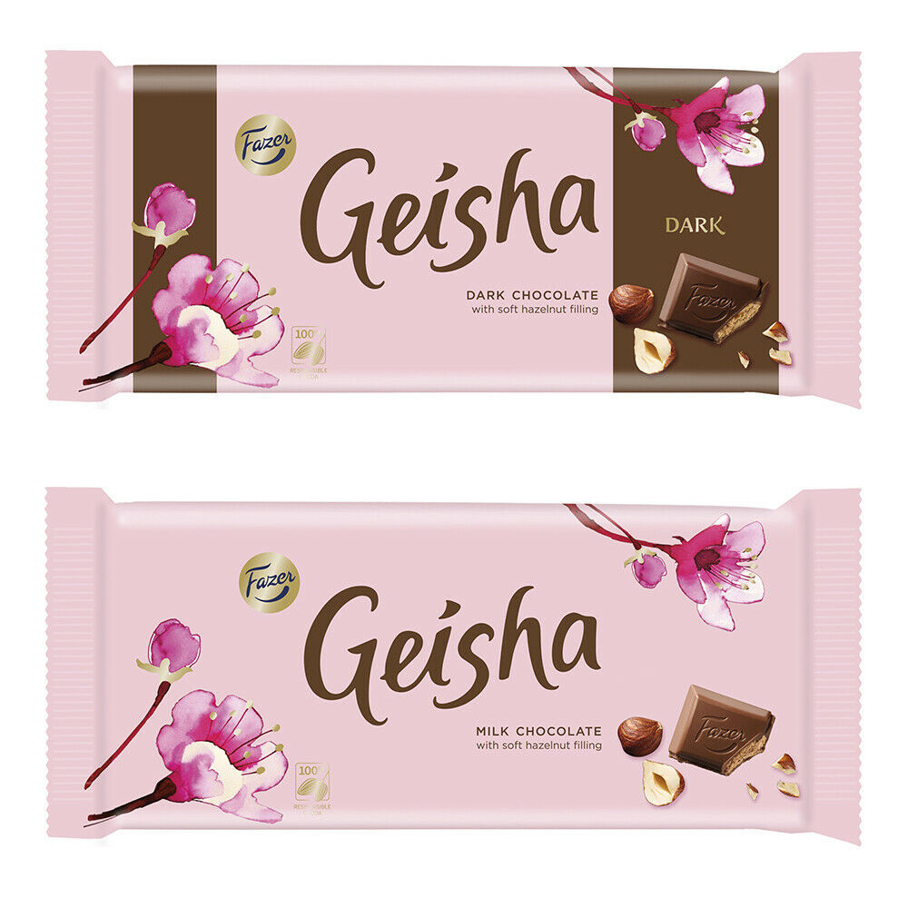 Fazer Geisha Milk & Dark Chocolate Bars 121 gram Made in Finland