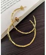 Big brass hoop earrings, open hoop earrings, gold circle earrings for women - $21.25