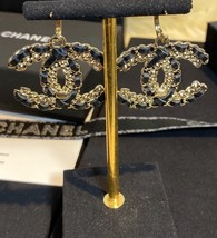 NEW AUTH Chanel 2020 LARGE CC Gold Crystal Black Lambskin Drop Dangle Earrings  image 4