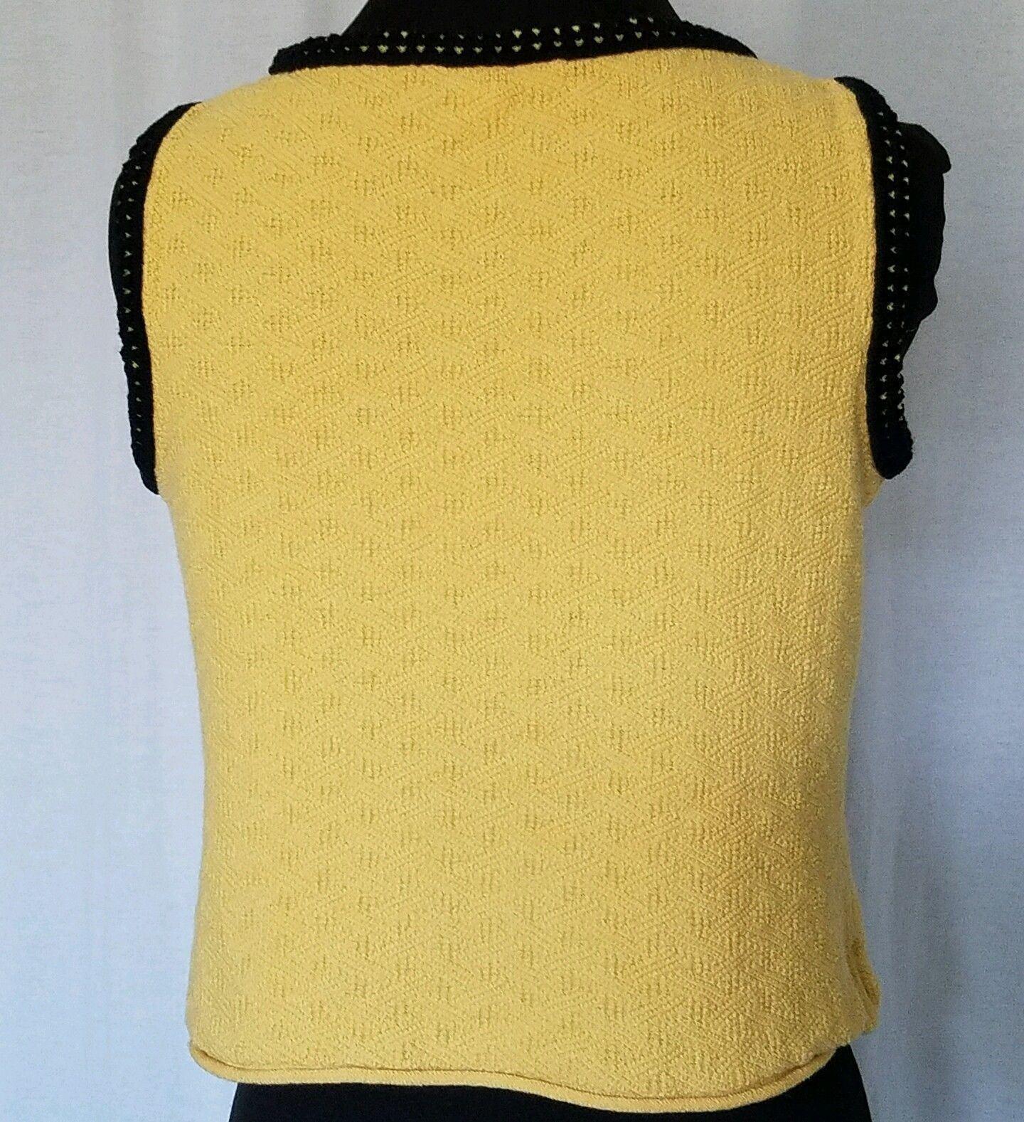 St John Knit Yellow Top Black Trim Round Neckline Sleeveless Size Small