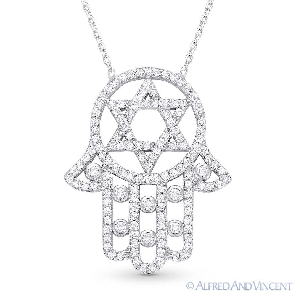 Magen Star of David Hamsa Hand of Fatima Jewish Pendant Sterling Silver Necklace image 3