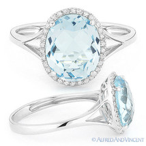 3.40ct Oval Cut Blue Topaz Diamond Halo Engagement Cocktail Ring 14k Whi... - €380,68 EUR