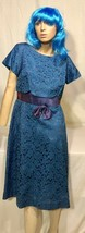Vintage Blue Lace & Dress w/Scalloped Top & Bow at Waist Sz. 8-10 - $23.38