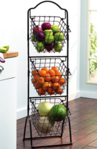 3-Tier Metal Basket Rack Wire Bins Shelving Organizer Vegetable Fruit St... - $74.24
