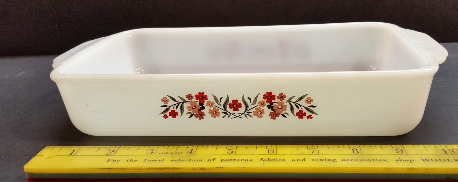 Vintage Fire King Baking Dish Primrose Red and Pink 1.5 qt 410 - $9.99