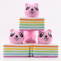 New Squishy Rainbow Colorful Triangle Bread Cake Cat Slow Rising Squeeze Fun Toy - $4.97