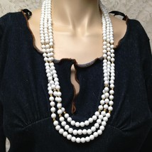 Vintage, Monet Multi-layer, 3-Strands White Beads, 28in Necklace - $9.45