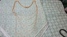 "BEAUTIFUL 5 STRAND THIN GOLDTONE CHAIN LAYERED NECKLACE 12"" TO 16"" - $6.99"